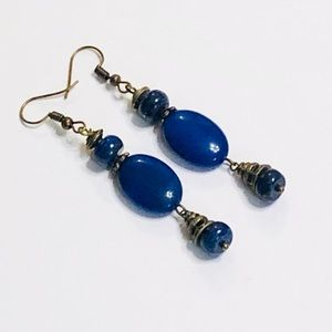 Lapis Lazuli & Cobalt Blue Oval Agate Earrings